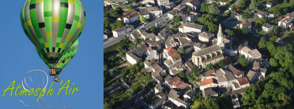 Vue aérienne de Cahuzac sur Vère en montgolfière