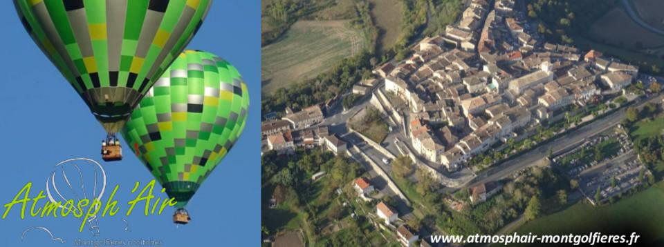 Castelnau de Montmiral vu du ciel en montgolfière