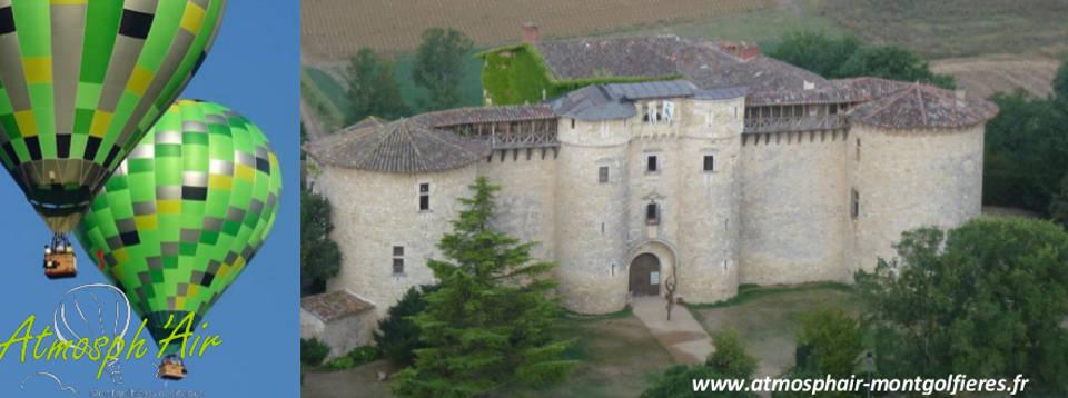 Le Château de Mauriac vu en montgolfière