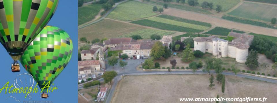 Le Tarn et le château de Mauriac en montgolfière