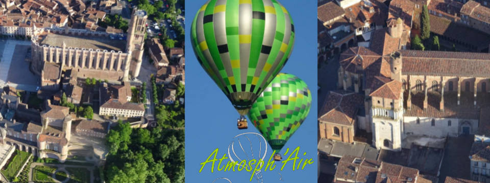 La Cathédrale et l'Eglise Saint Salvy d'Albi en montgolfière vues du ciel