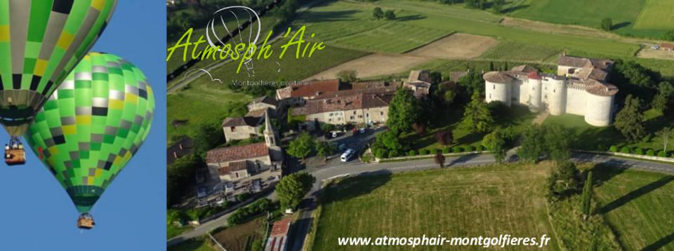 Vue aérienne en montgolfière du village de Mauriac et de son célèbre château