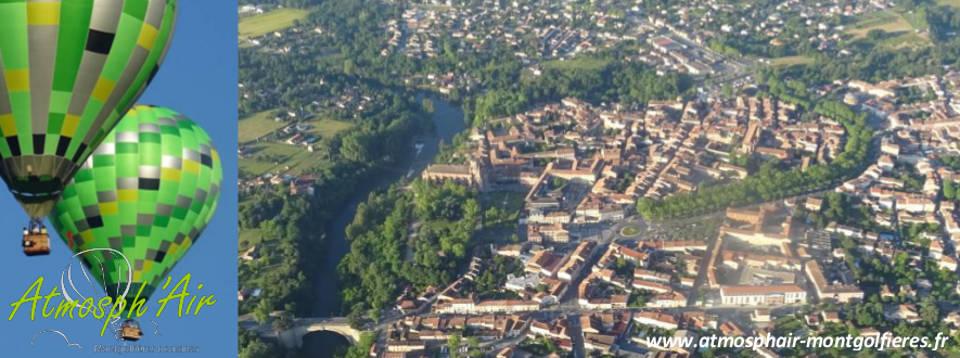 vue aérienne de la cathédrale Saint Alain de Lavaur en montgolfière