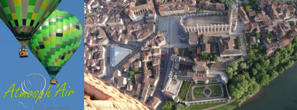 Musée Toulouse Lautrec et Cathédrale d'Albi vu du ciel en montgolfière
