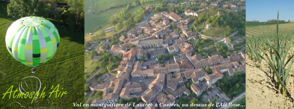 Le Tarn et le moulin de Lautrec en montgolfière