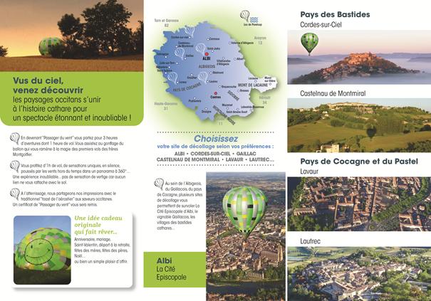 Dépliant de présentation verso des vols en montgolfière et sites de décollage dans le Tarn