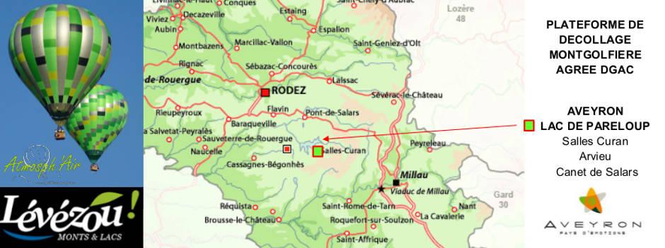 Plan site de décollage montgolfière Lac de Pareloup en Aveyron
