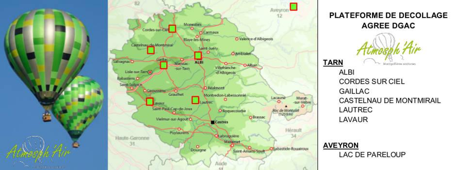 Plan des sites de décollage des vols en montgolfière dans le Tarn