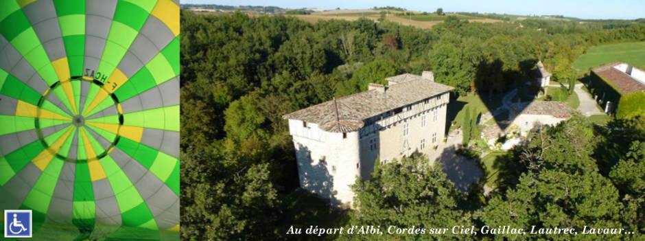 Le Chateau de Mayragues en montgolfière entre Le Verdier et Castelnau de Montmirail