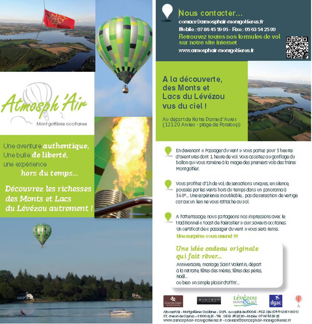 Dépliant de présentation des vols en montgolfière dans l'Aveyron