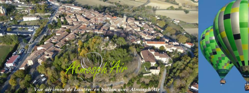 Photo aérienne village de Lautrec dans le Tarn en montgolfière