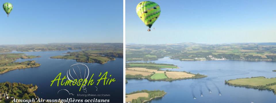 Départ en montgolfière de Salles Curan et survol du Lac de Pareloup