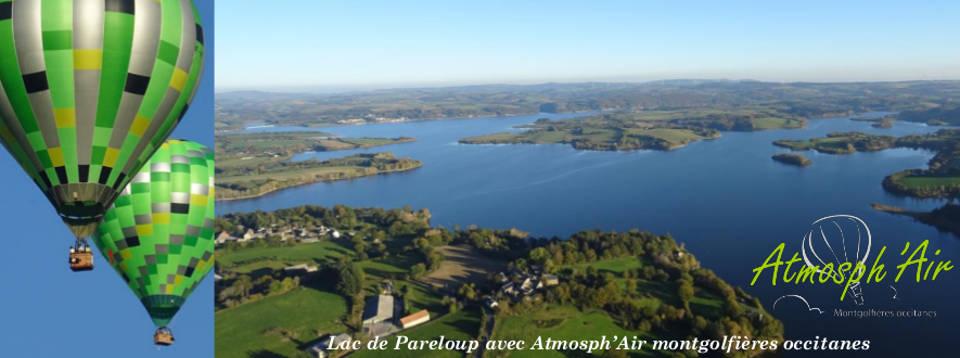 Vue aérienne en montgolfière des monts et lacs du Lévézou de Pareloup