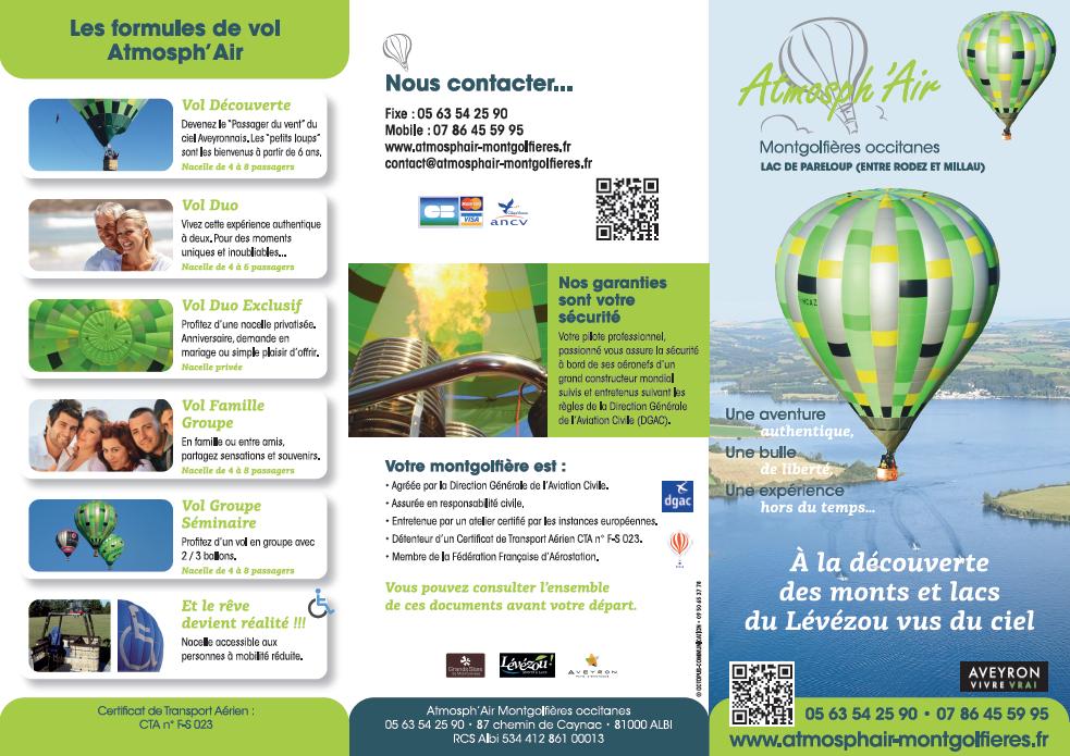 Dépliant de présentation recto vol en montgolfière Aveyron lac de Pareloup