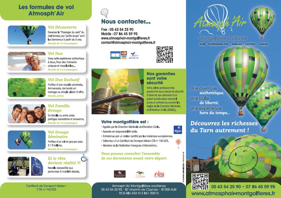 Dépliant de présentation recto Atmosph'Air montgolfières Tarn