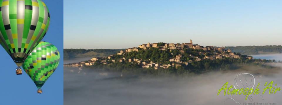 Le Tarn et Cordes dans la brume en montgolfière