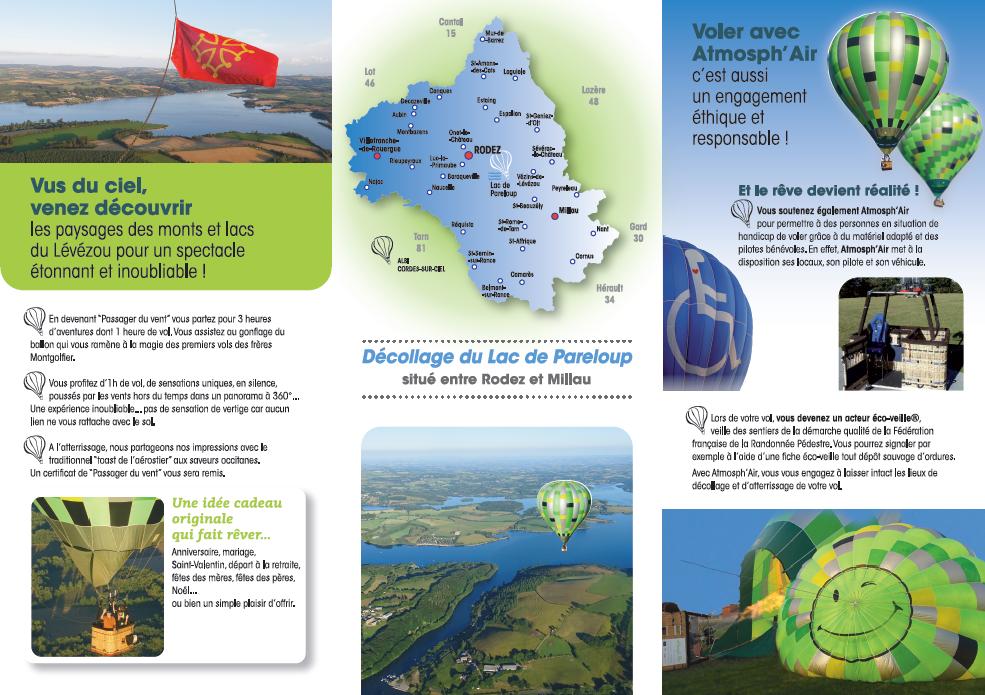 Dépliant de présentation verso vol en montgolfière Aveyron Lac de Pareloup
