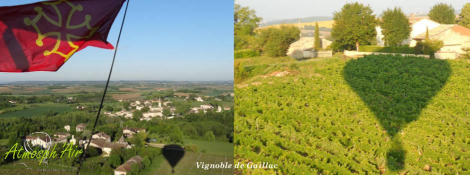 Les vignes de Gaillac en montgolfière