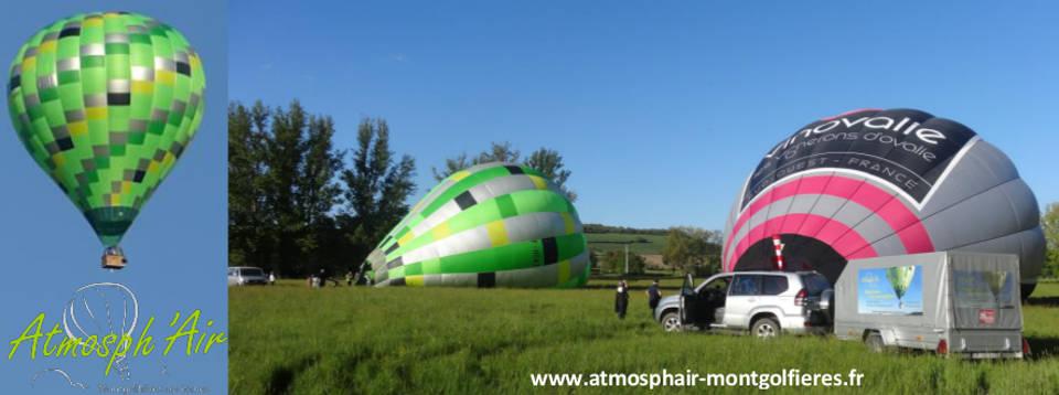 Montgolfières Atmosph'Air et Vinovalie en préparation dans le Tarn