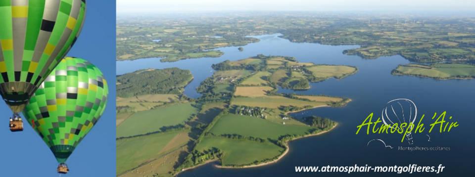 vue aérienne en montgolfière du lac de Pareloup