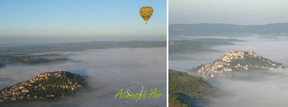 Bastide de Cordes sur Ciel en montgolfière
