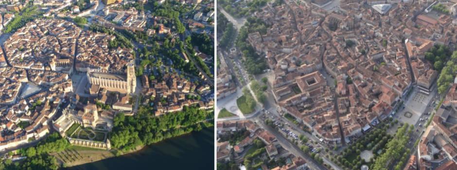 La cité épiscopale d'Albi classé à l'UNESCO vu du ciel en montgolfière