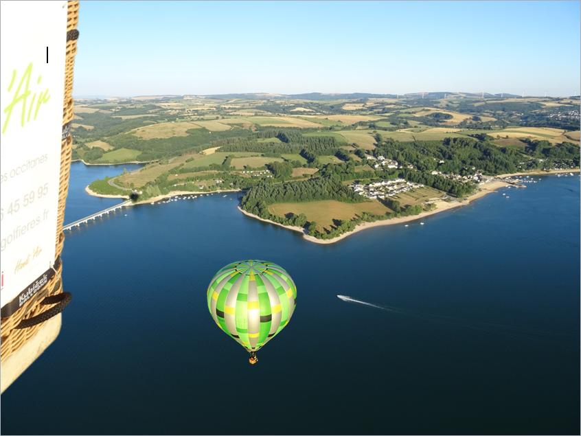 Vol en montgolfière sur le Lac de Pareloup dans l'Aveyron