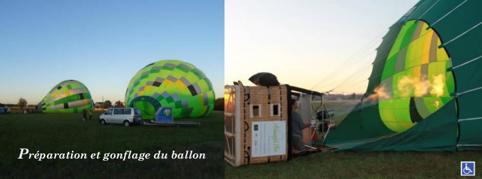 préparation et gonflage avant le décollage de la montgolfière Tarn Aveyron Haute Garonne